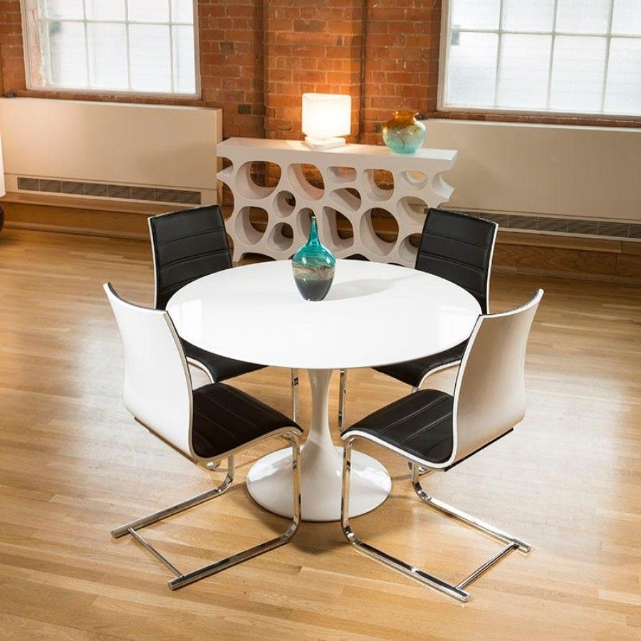 Tulip Style Round Dining Table White Gloss  4 Black  White Captivating White Dining Room Chairs Modern Decorating Inspiration