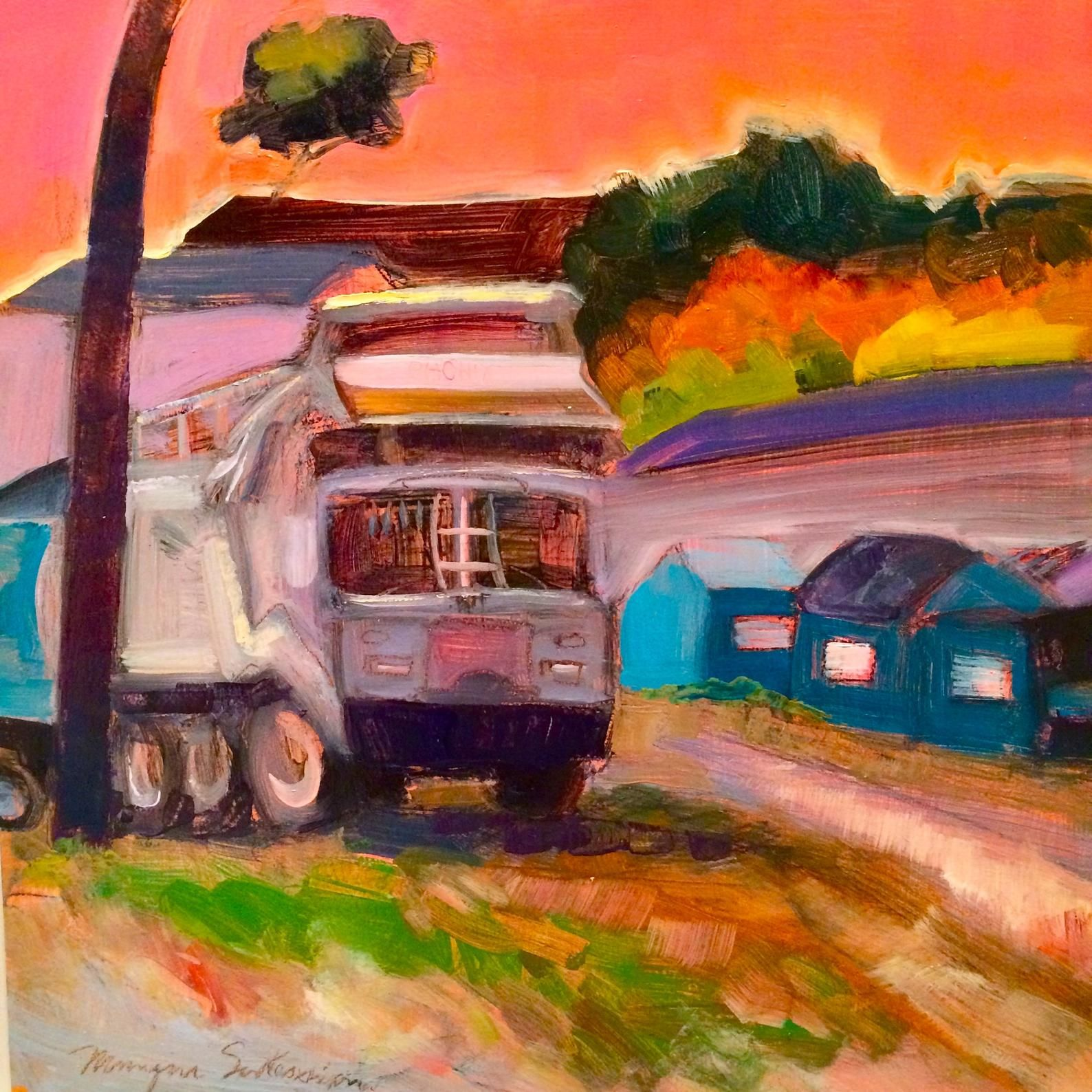 Phoenix garbage truck plein air oil painting phoenixville