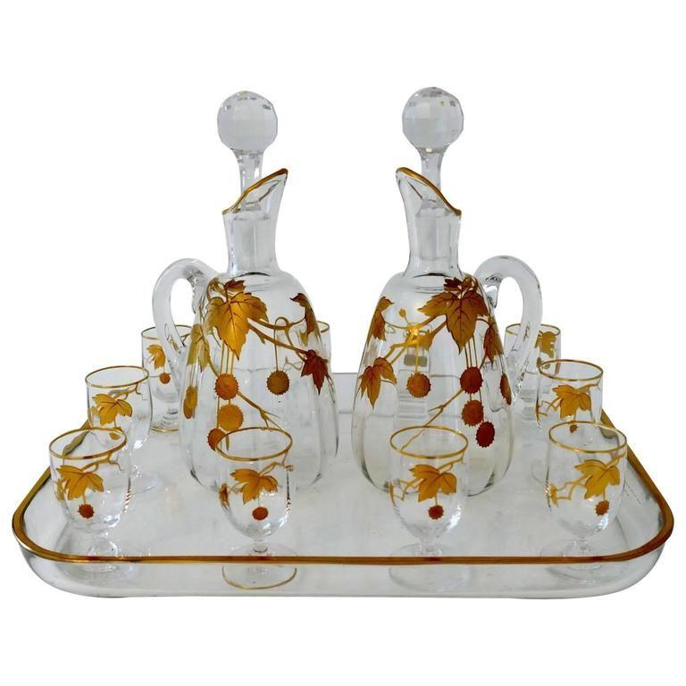 1900 Rare Baccarat Gold Crystal Liquor or Aperitif Service ...