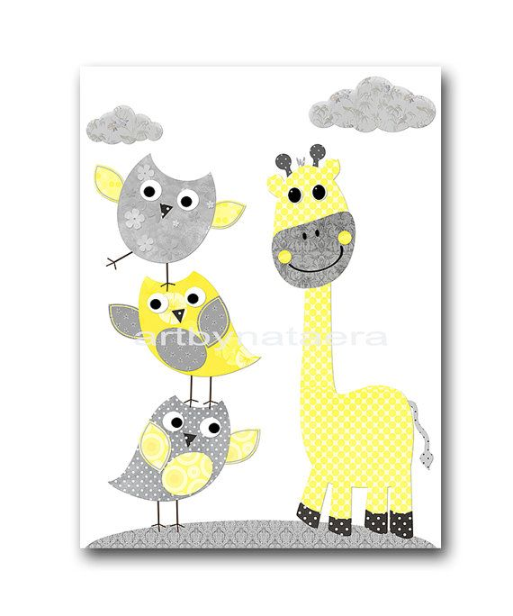 Giraffe Nursery Digital Art Printable Print Baby Boy Nursery Art ...