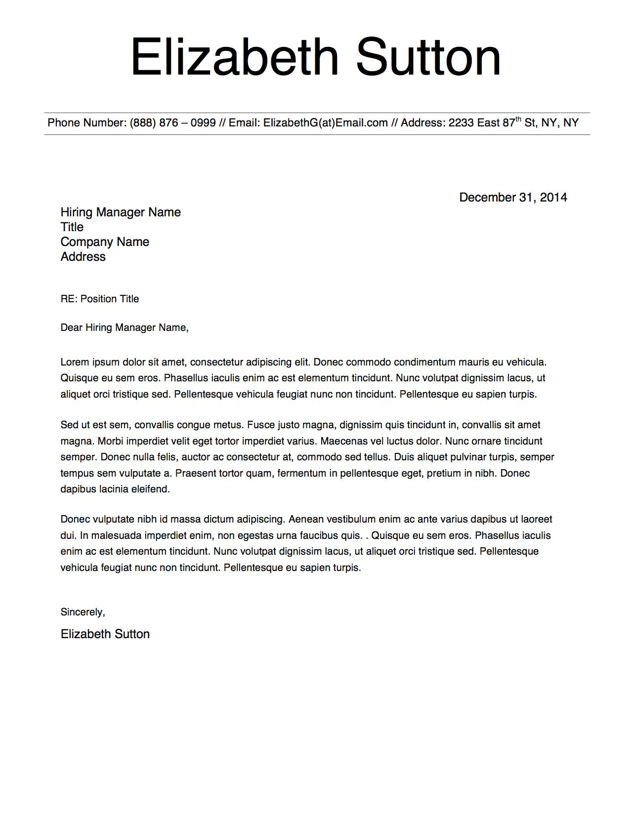 Elizabeth Sutton Cover Letter Template  Elizabeth Sutton Resume