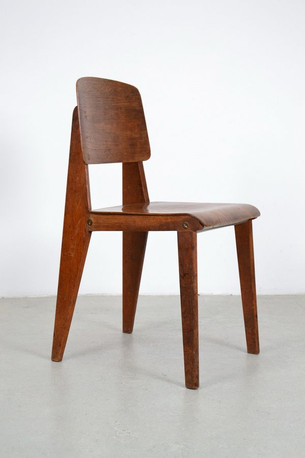 Jean Prouv Oak and PowderCoated Steel Standard Chair