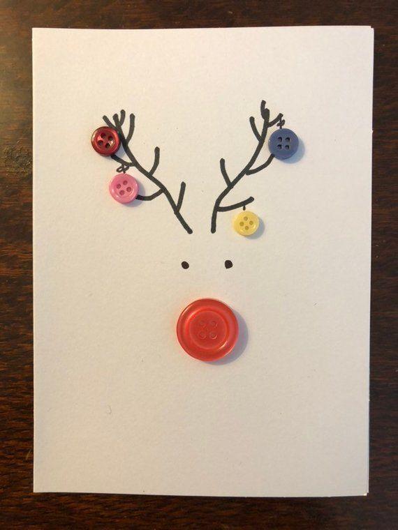 Button Reindeer Card