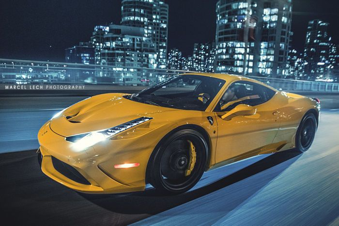 Awesome Yellow Ferrari 458 Speciale On The Road At Night Gallery Ferrari 458 Speciale Ferrari 458 Ferrari