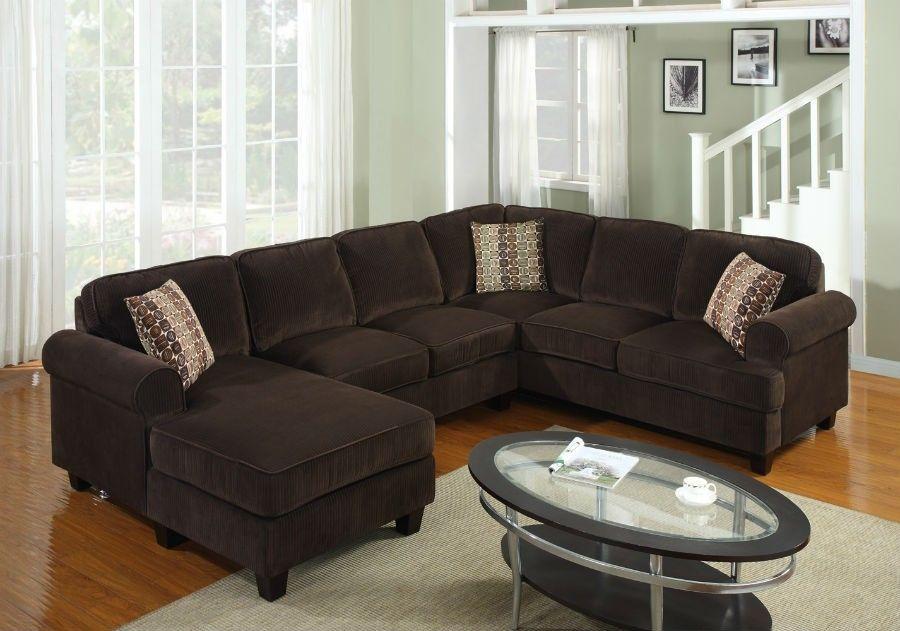 3 Pc Modern Brown Corduroy Sectional Sofa Living Room Set