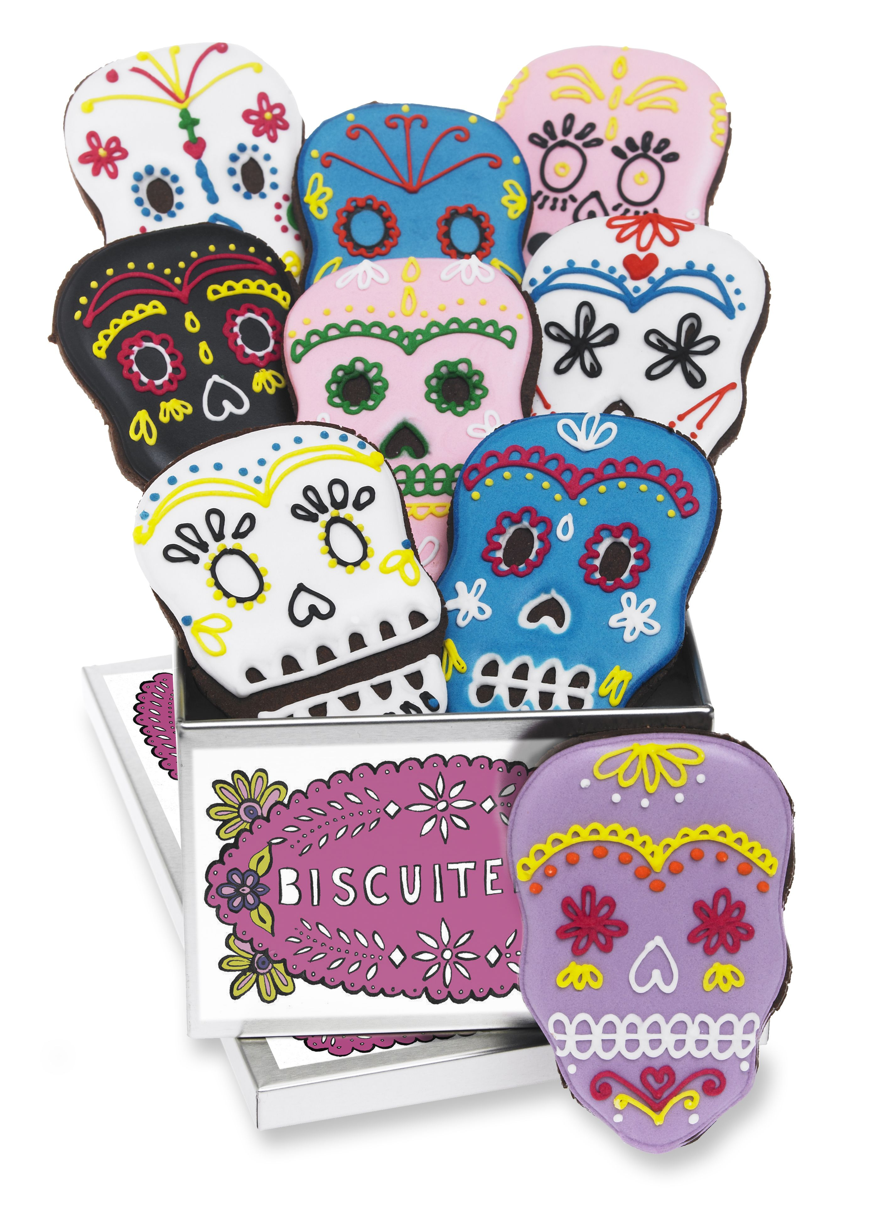 Day of the dead biscuit tin Halloween biscuits, Skull