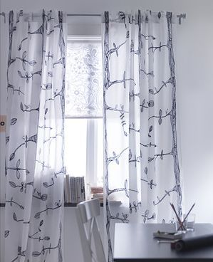 2 Panels Pair Ikea Eivor Curtains Drapes Trees Birds Black White New Ikea Curtains Curtains Living Room Curtain Decor