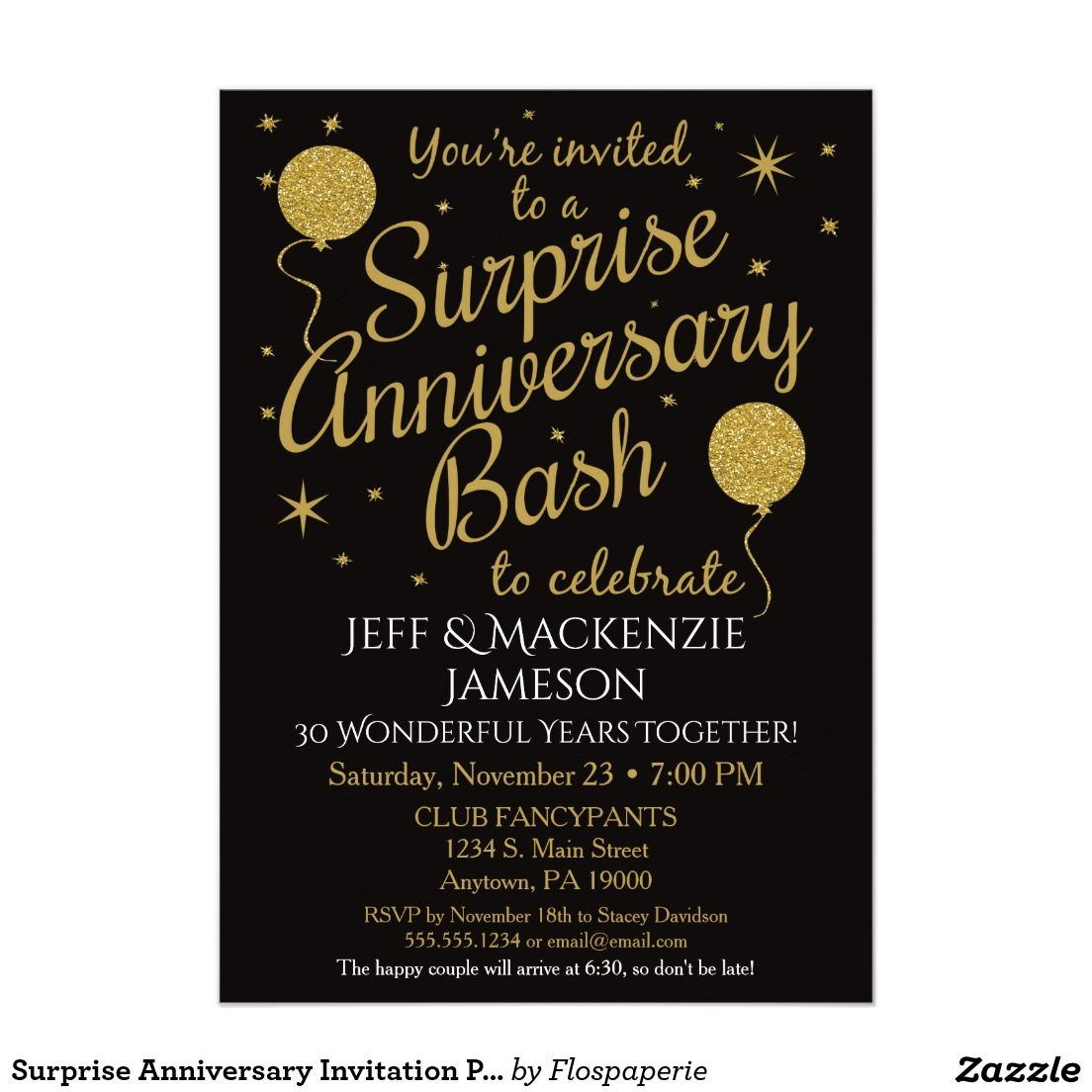 surprise anniversary invitation party black gold in 2018 50th