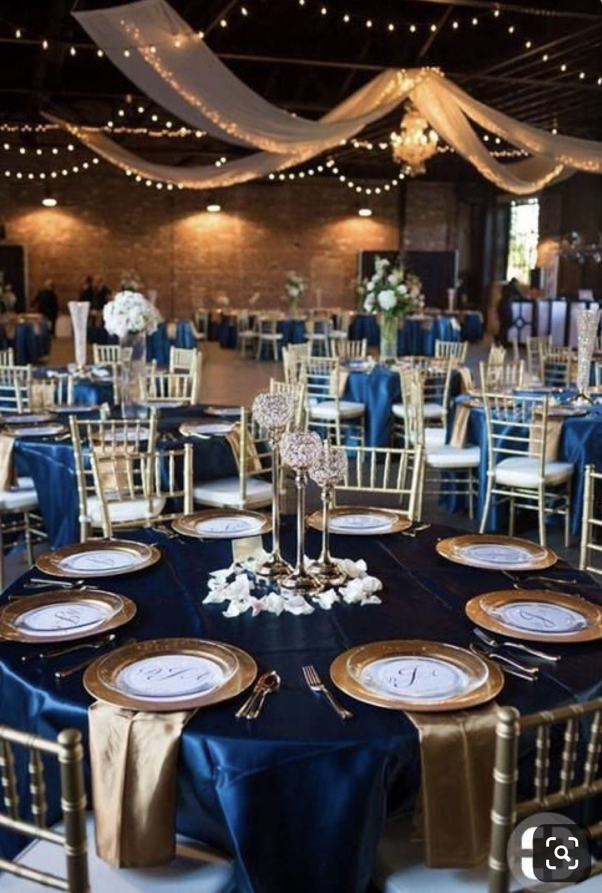Pin By Katy Koch On Prom Blue Wedding Decorations Blue Gold