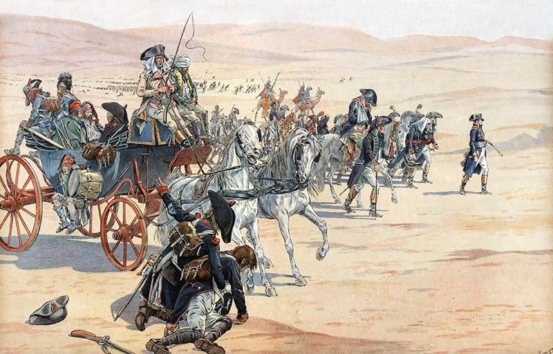 Napoleon and his troops in the desert during the Egyptian Campaign