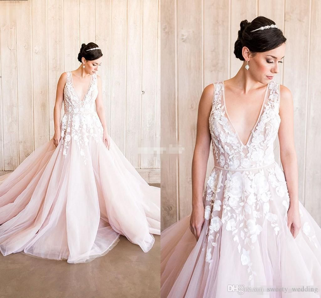 Blush Pink Lace Wedding Gowns: Blush Pink Wedding Dresses Bohemian Lace Deep V Neck Tulle