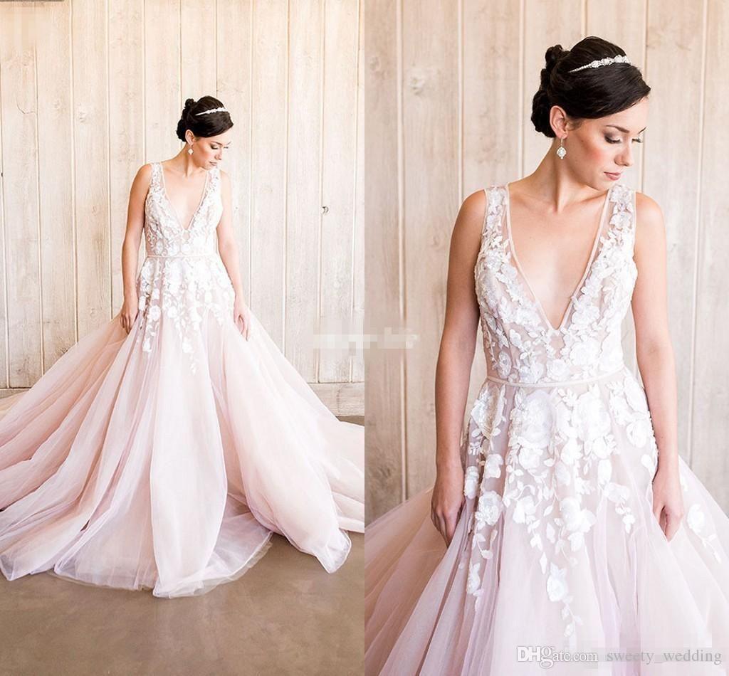 Backless Beach Wedding Dresses V Neck Flowing Vintage Boho: Blush Pink Wedding Dresses Bohemian Lace Deep V Neck Tulle