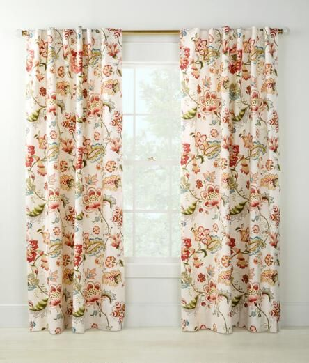 Jacobean Floral Rod Pocket With Back Tab Curtains   Country Curtains®