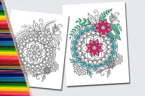 Mandala Coloring Pages Adults Printable : Floral mandala coloring pages for adults 5 printable coloring pages