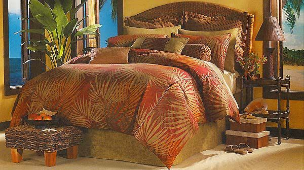 Belize Tropical Comforter Set With Accessories Is A Unique Designer Bedding Pattern In Vibrant Reddish Color