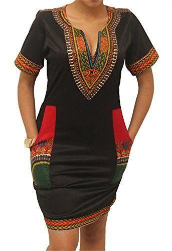 65627002f8 ... Plus Size Women Traditional African Print Dashiki Bodycon Short Sleeve  Dresses. Makkrom Women's African Vintage Floral Dashiki Tribal Sho...  https://www
