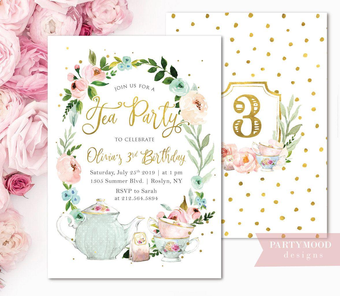 floral tea party birthday invitation