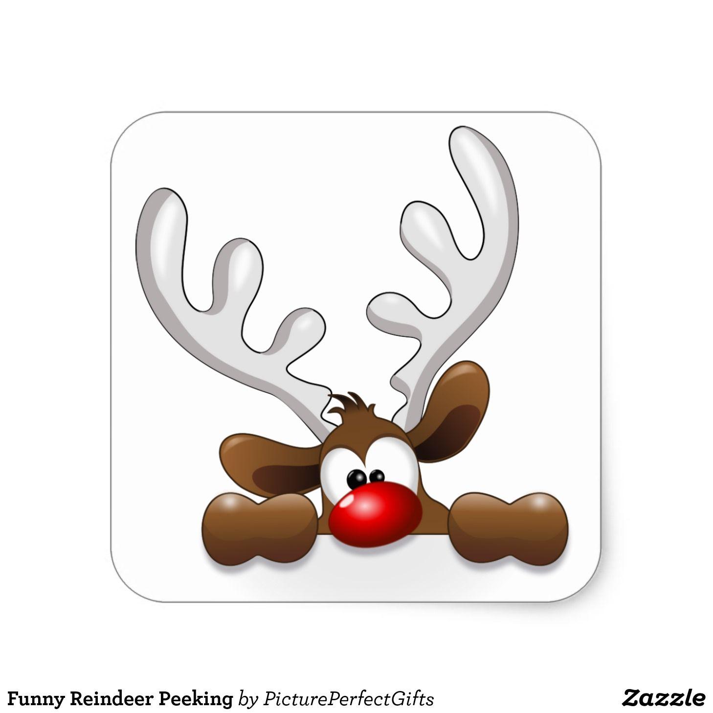 Funny Reindeer Peeking Classic Round Sticker | Zazzle.com ... (1458 x 1458 Pixel)