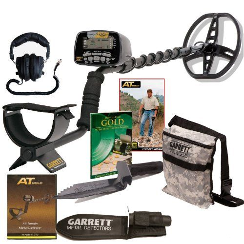 GARRETT AT GOLD METAL DETECTOR W/EDGE DIGGER CAMO POUCH BOOK & INSTRUCTION DVD