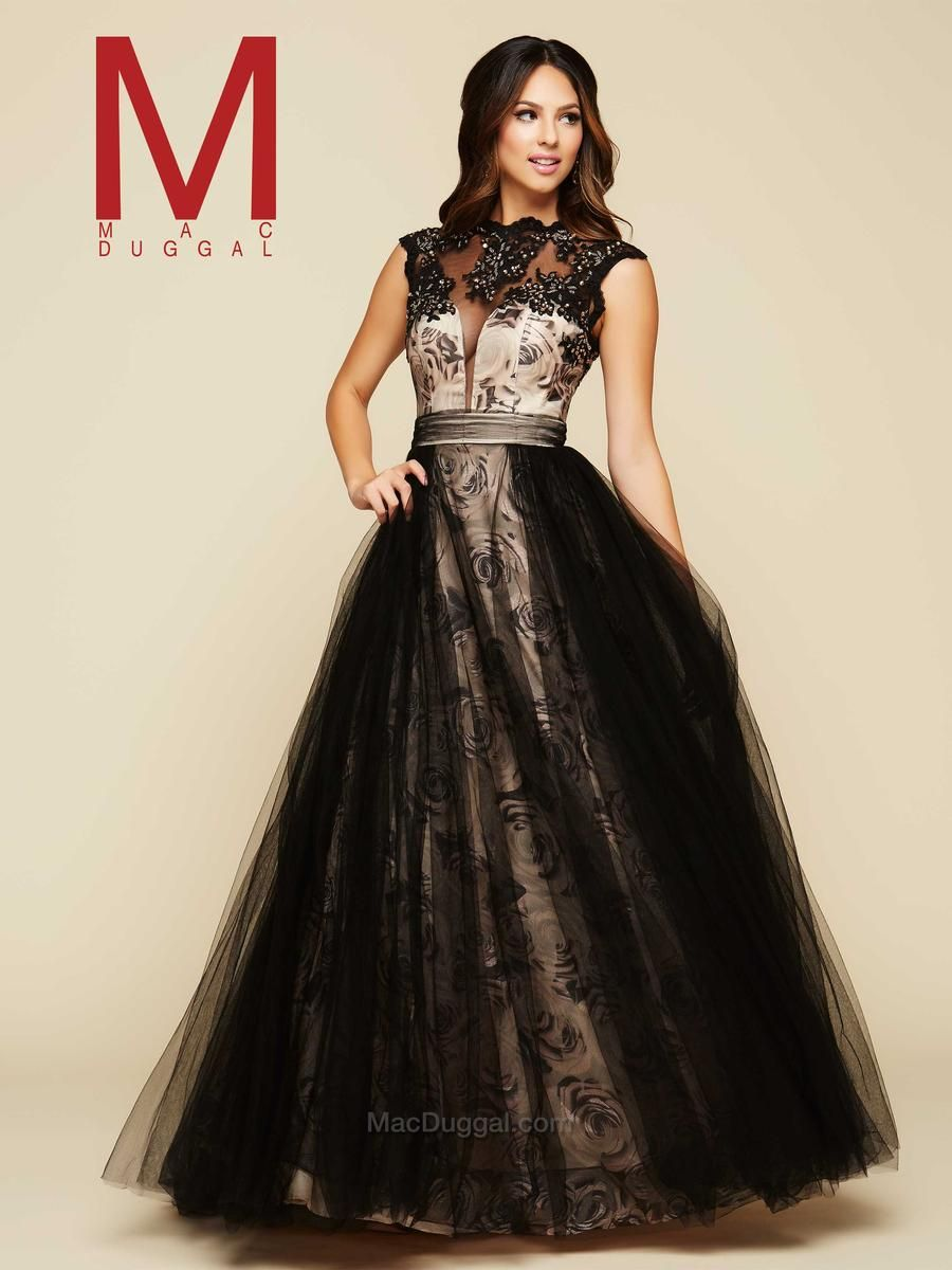 Mac duggal h rose print ball gown formal u prom dresses
