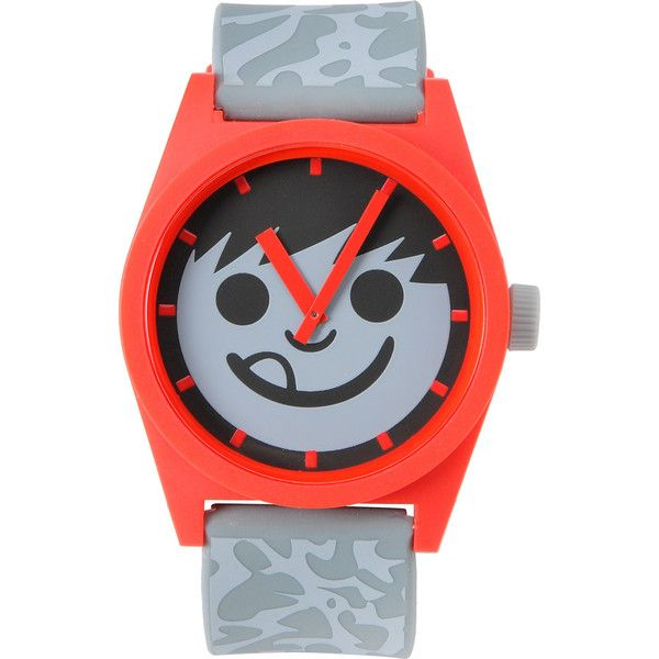 Neff Daily Krinkle Red Grey Analog Watch ($30) ❤ liked on Polyvore