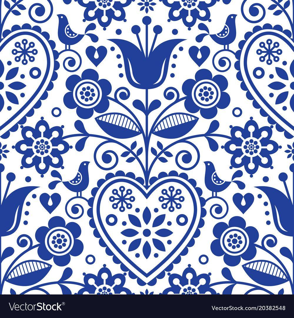 Vintage Style Nordic Ornament Scandinavian Fox Design