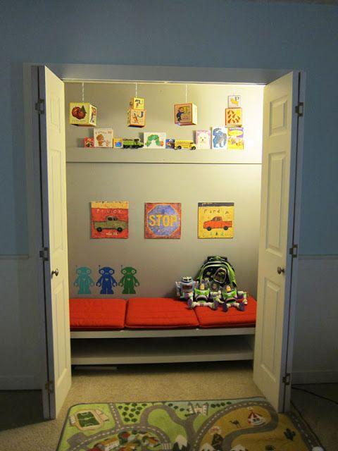 Turning a closet into a play area Reading nook closet