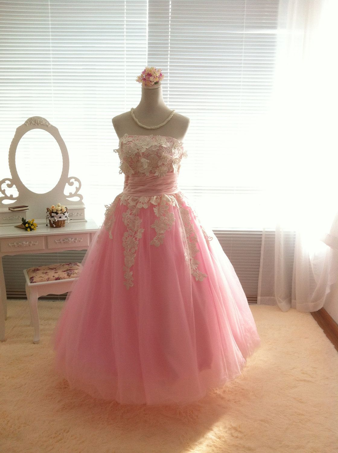 Custom Make Vintage Inspired Tulle Wedding Dress Bridal Gown Pink ...