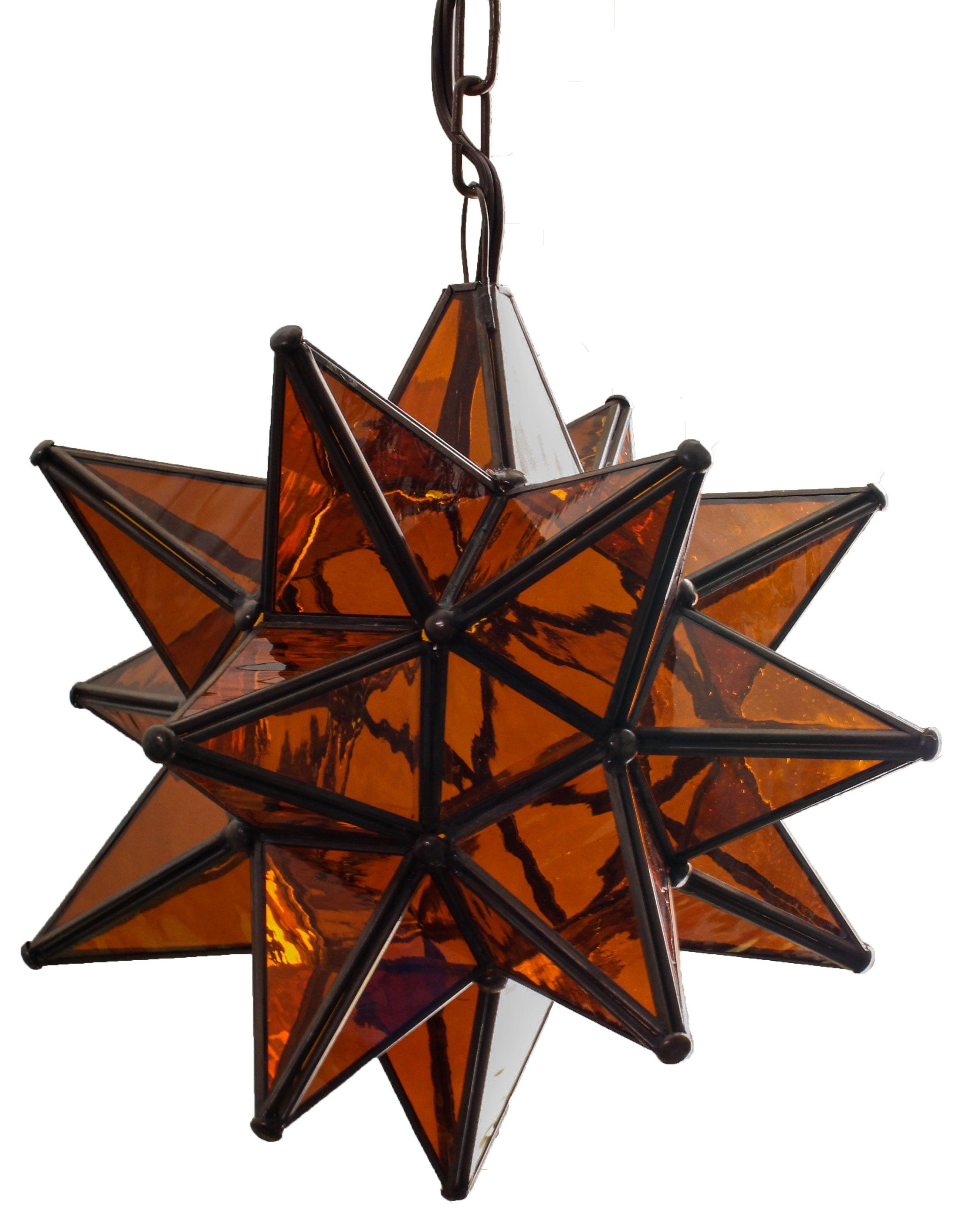 Amber glass pendant star el callejon art tin and glass stars amber glass pendant star mozeypictures Choice Image
