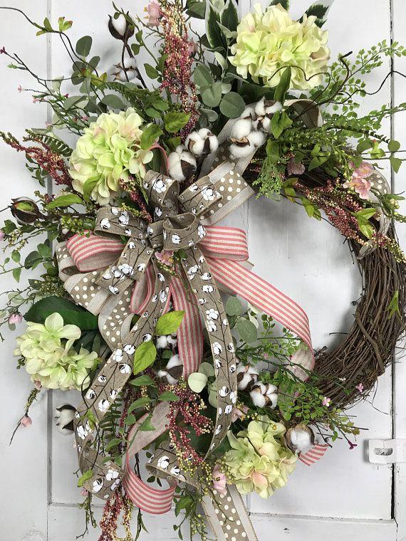 Photo of Hydrangea wreath, cotton capsules, summer wreath, Mother's Day wreath, hydrangeas …