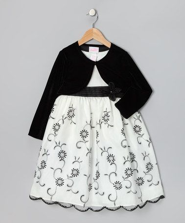 Take a look at this Black & White Daisy Dress & Bolero - Infant, Toddler & Girls by Rosenau Beck on #zulily today!