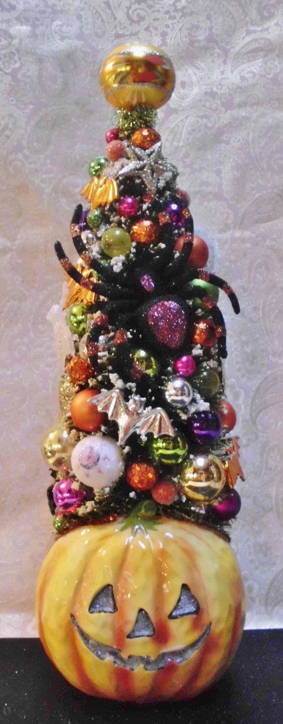 Halloween Tree in Vintage Jack O Lantern Planter, Vintage Glass ...
