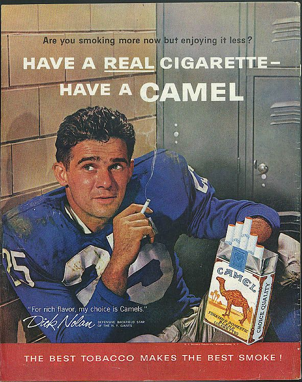 New York Giants Dick Nolan for Camel Cigarettes Ad 1960