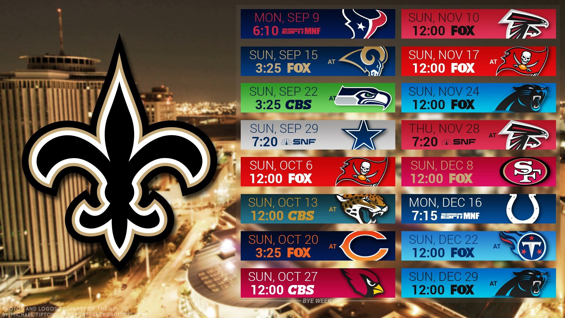 2019 New Orleans Saints Desktop Wallpaper Schedule. New