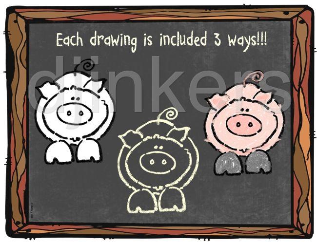 Farm Clip Art In Cute Chalkboard Style By Dj Inkers Clip Art Chalkboard Art Chalkboard Style