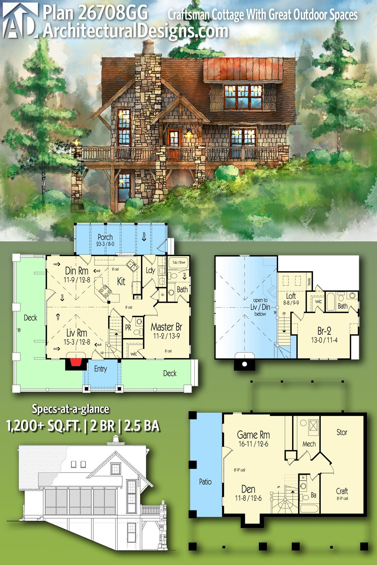 Plan 26708gg Craftsman Cottage With Great Outdoor Spaces Rustic House Plans Architectural Design House Plans Cabin Floor Plans