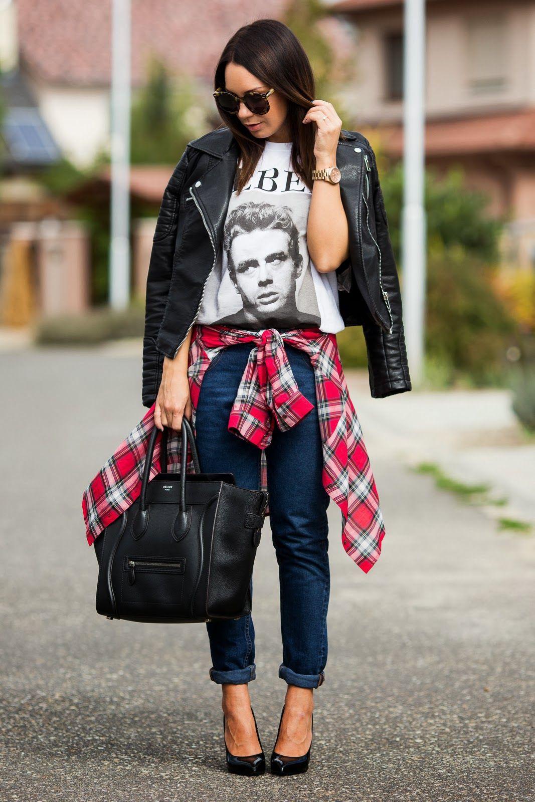 Jacket and jeans: ZARA | Shirt: MANGO | T-shirt: F&F | Bag: CÉLINE | Heels: SAINT LAURENT | Sunglasses: KAREN WALKER | Watch: MICHAEL KORS