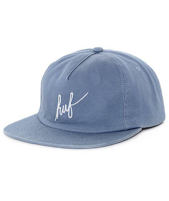 dc0ba040d149f HUF Washed Script Slate Grey Snapback Hat