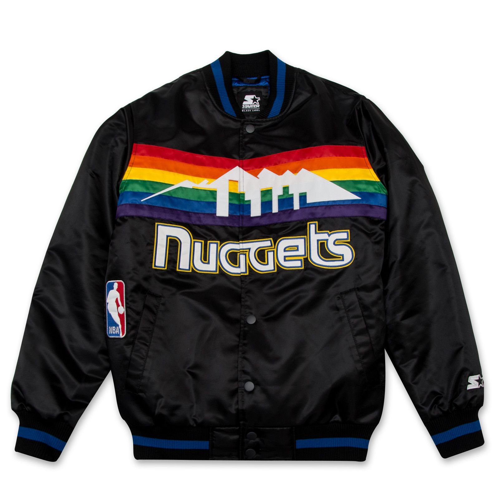 Starter Black Label Satin Jacket Denver Nuggets Black Satin Jackets Jackets Black Label