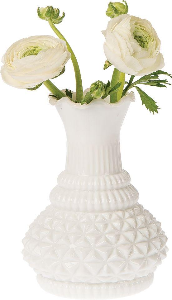 Our White Sophia Ruffled Vintage Milk Glass Vase Will Embellish Your