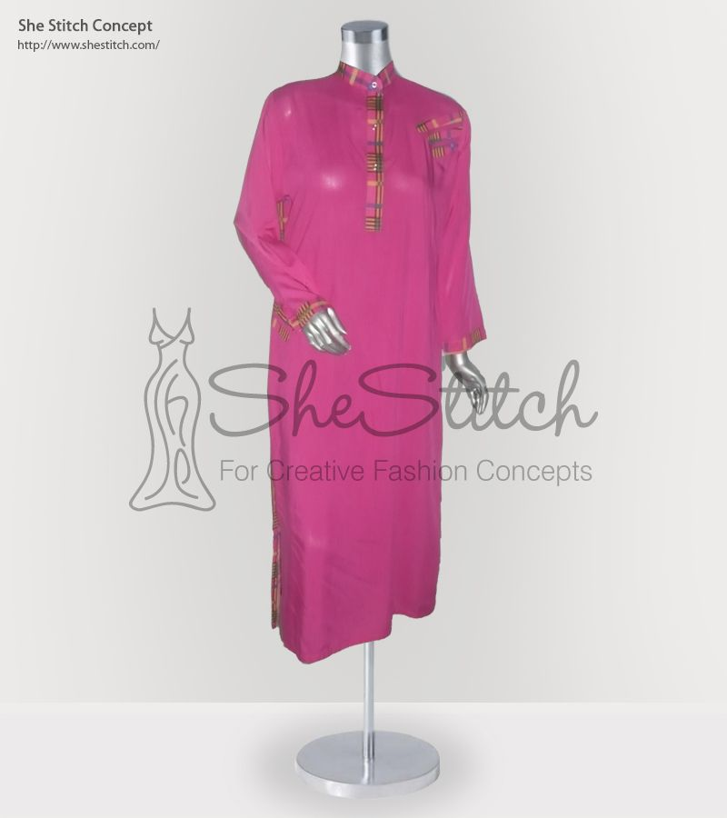 Price: $10 - SS5985 Malai Fabric. She Stitch Concept Pink Color Collection contains this long styled shirt in malai boski lawn fabric having long sleeves,