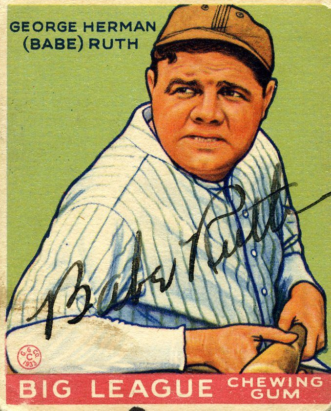 images of babe ruth | 1933 Babe Ruth Signed Goudey Card ...