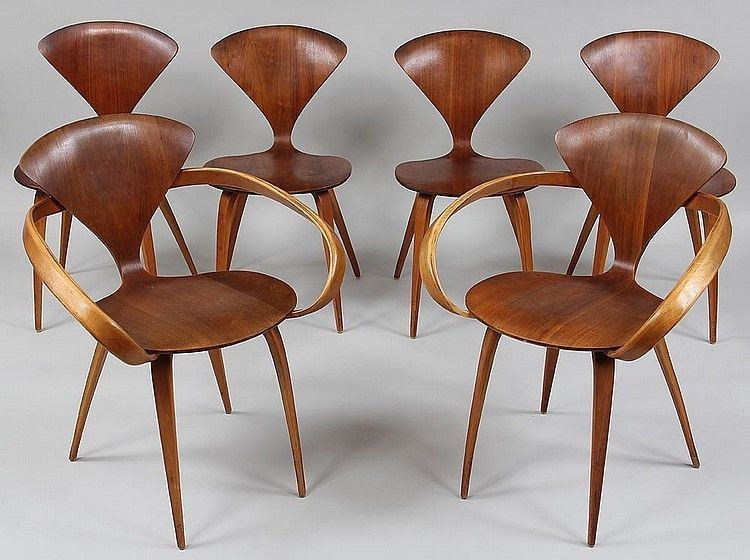 set of 6 norman cherner plycraft dining chairs lot 243