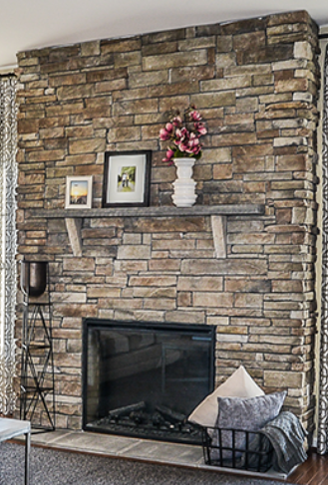 Upgraded Stacked Stone Fireplace With Flush Hearth Fireplace Hearth Stacked Stone Fireplaces Fireplace