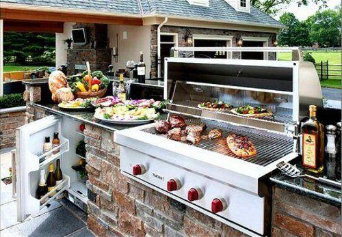 garten Küche mit Grill feuerstelle barbecue Outdoor Küchen