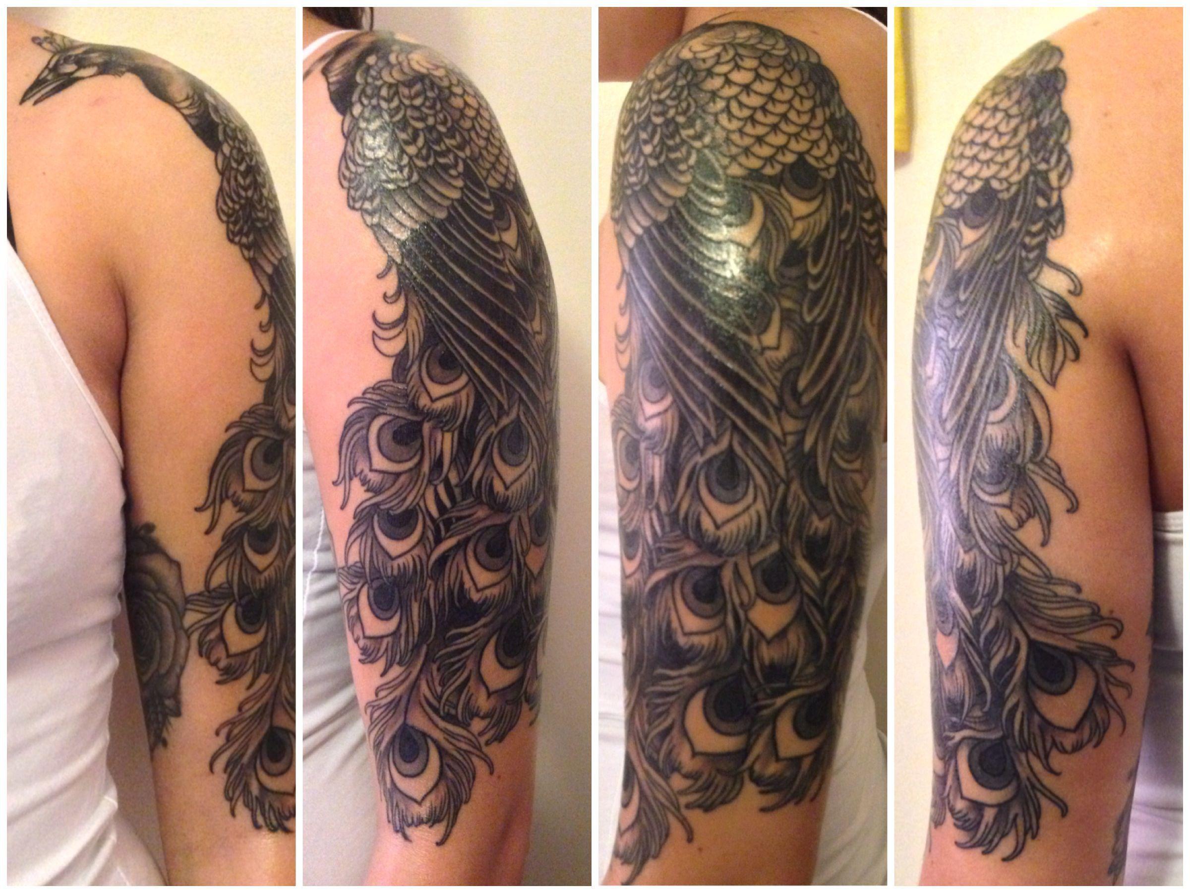 By Tash at Ultimate Skin; Leeds, UK. Peacock, black & gray