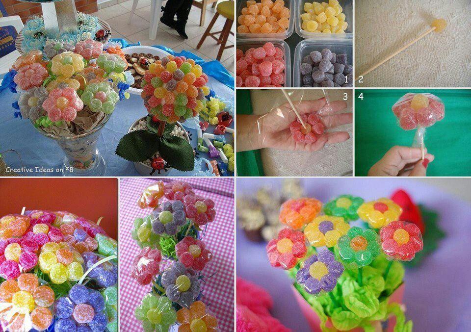 Gum drop flowers. Too cute