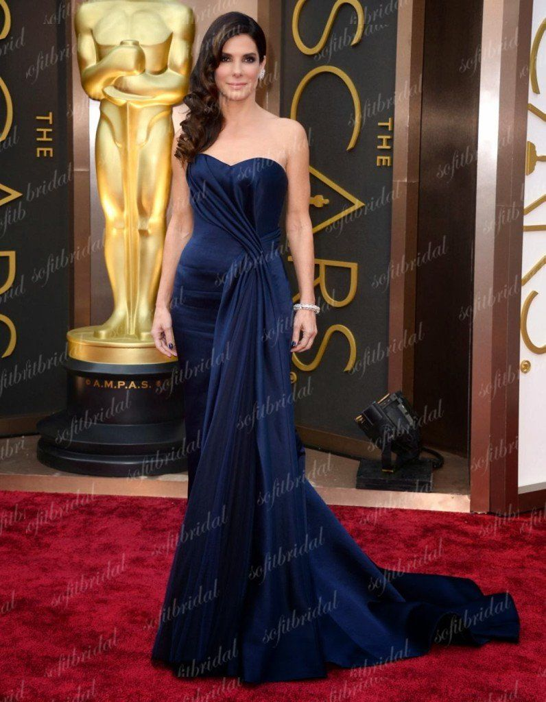 Sweetheart navy long mermaid gorgeous celebrity dresses affordable