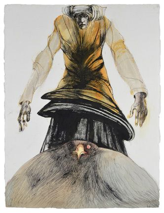 """>>>Interesting figure drawings..deep and foreboding..Current Exhibition at Galerie St. Etienne - Leonard Baskin Sibyl, Series III 1989. Watercolor, gouache and ink on white textured wove paper. Signed, lower right, and dated, lower left. 29 3/4"""" x 22 3/4"""" (75.6 x 57.8 cm)."""
