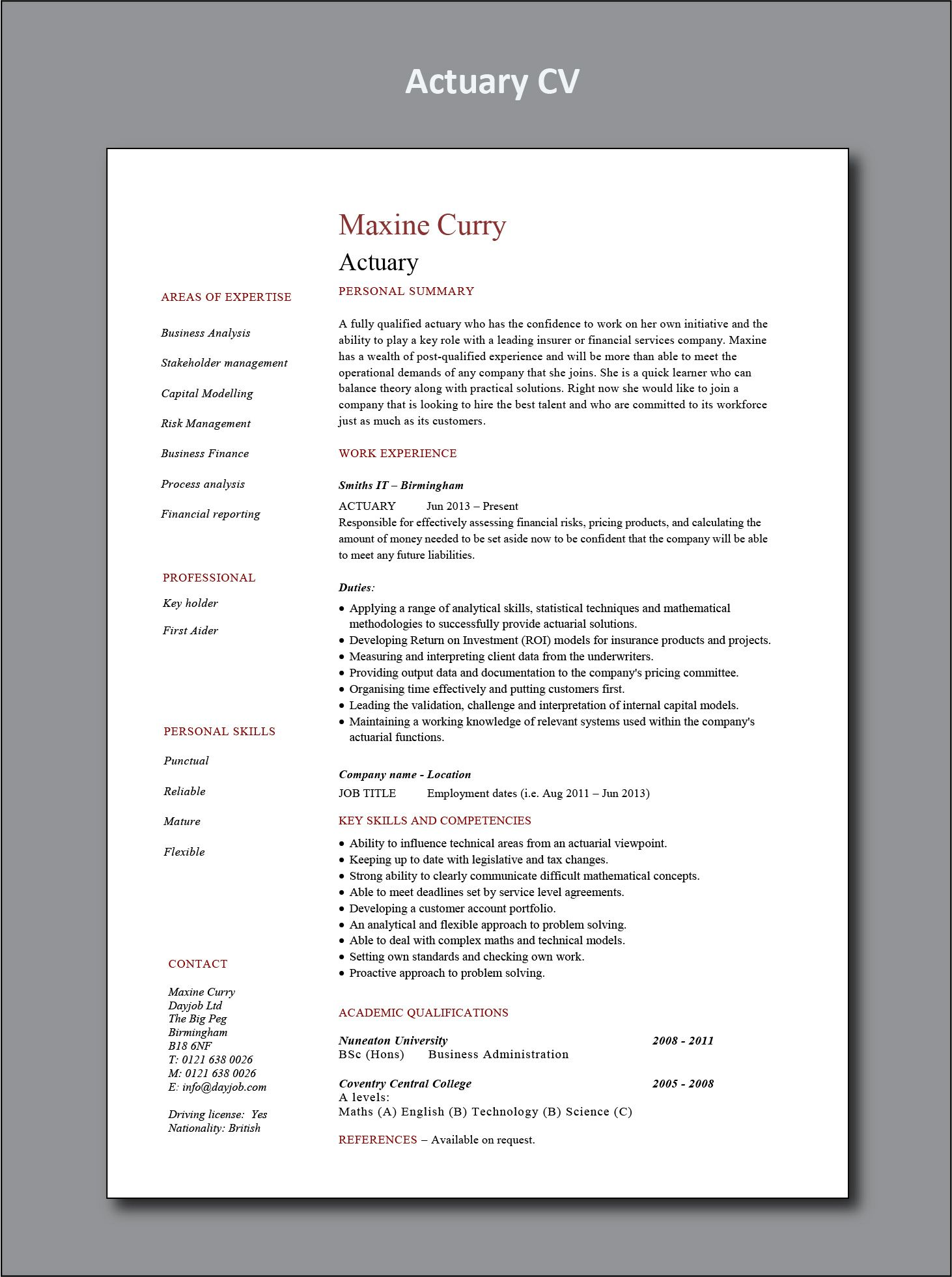 Actuary Cv Example In 2020 Project Manager Resume Office
